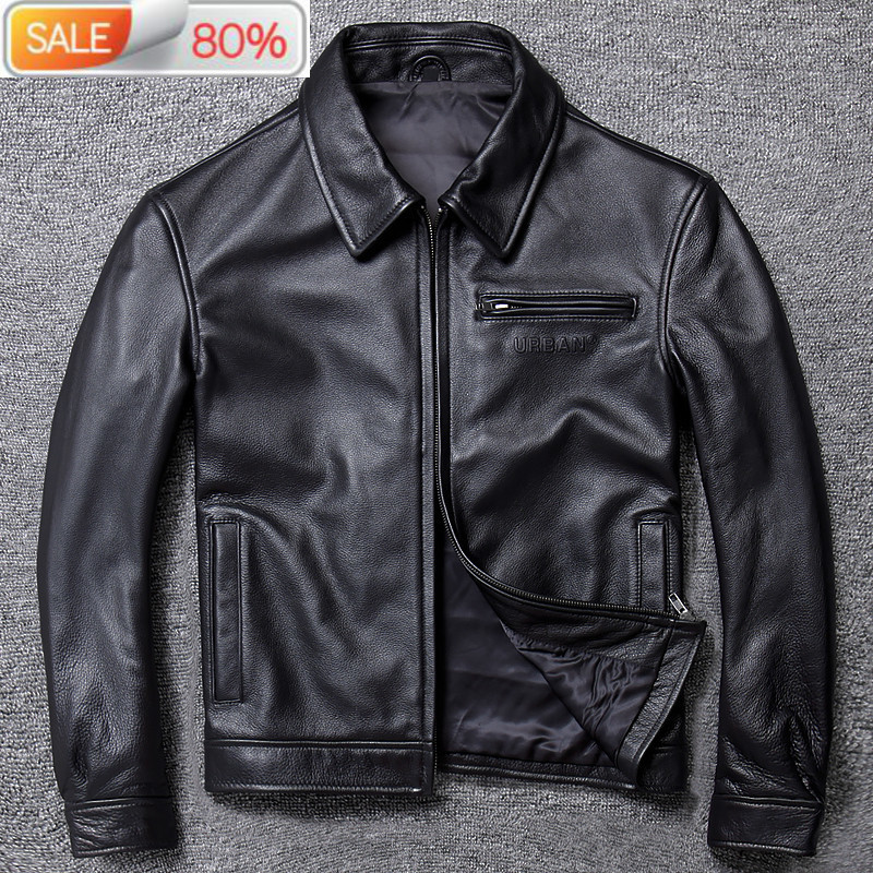 Mens Real Cowhide Sheepskin Coat Genuine Leather Jackets for Men Motorcycle Jacket 2020 19-A005 B24272