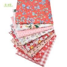 Chainho – tissu en coton sergé imprimé, série florale rouge, tissu Patchwork pour bricolage, matériel de couture de literie pour bébés et enfants