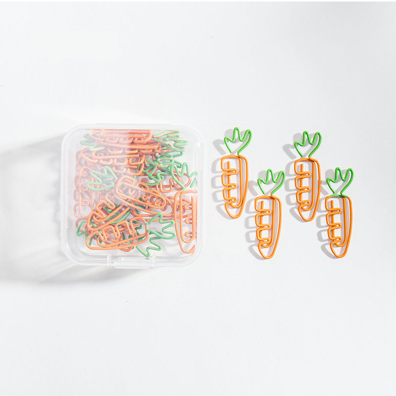 TUTU 20pcs/lot Creative Kawaii Carrot Shaped Metal Paper Clip Bookmark Stationery School Office Supply H0453