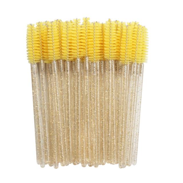 1/50pcs Shiny Disposable Eyelash Applicator Wands Curler Brush Set Mascara Eyebrow Spoolers - Comb Wands Spoolies Brushes 3