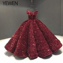 Grün Pailletten Abendkleid Abendkleider 2020 Weg Von Der Schulter V ausschnitt Formale Abend Dresse lange vestidos de fiesta YeWen