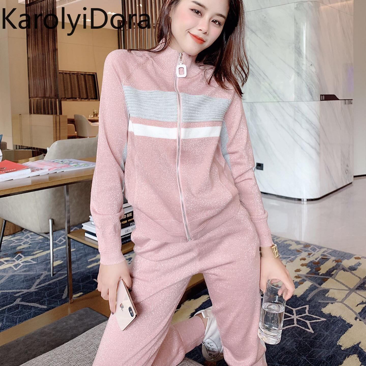 Women/'s Autumn Large Size Knitted Suit Leisure Loose Pullover Two-Piece Set New