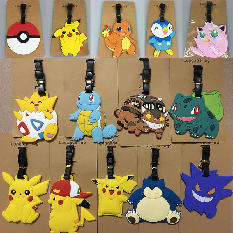 Novelty Cartoon Luggage Tags Pokemon Pikachu Silicone Luggage Card Travel Tag Suitcase Label Tag Travel Accessories Dropshipping