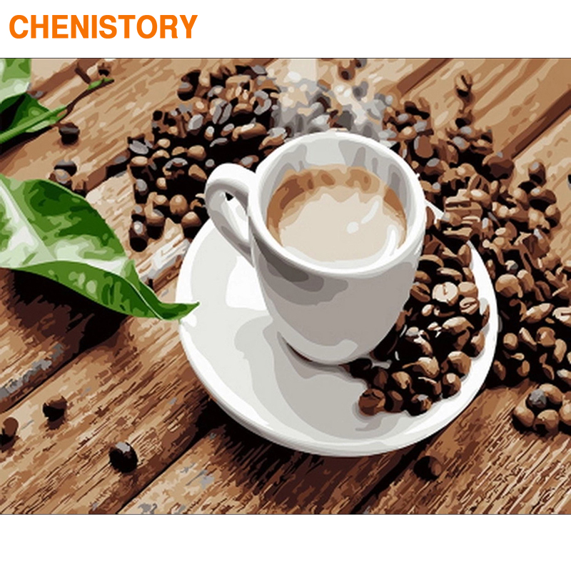 CHENISTORY Frame Coffee Tea DIY Painting By Numbers Modern Wall Art Picture By Numbers Acrylic Canvas By Numbers For Home Decors