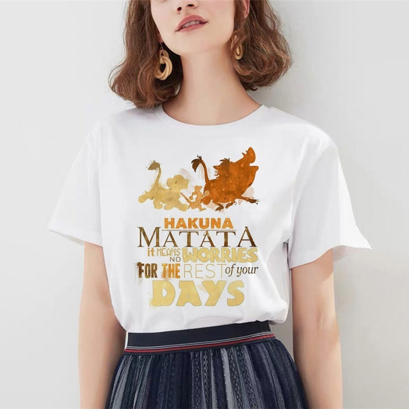 Funny The <font><b>Lion</b></font> <font><b>King</b></font> <font><b>Hakuna</b></font> <font><b>Matata</b></font> tshirt Women Kawaii Harajuku Summer Short Sleeve T Shirts Femme Kawaii Casual Tops image