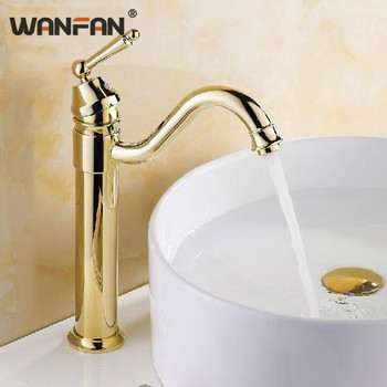 Basin Faucets Gold-plating Deck Mounted Bathroom Sink Taps Modern 360 Degree Swivel Tap Single Handle Crane Home JCS-8299