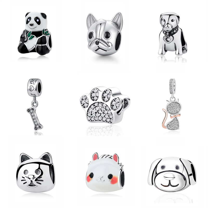 Cat//Dog Cute Paw Charm 925 Sterling Silver Pet Paw Beads Charm fit for DIY Charms Bracelets