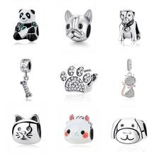 925 пробы серебряный шарм из бисера любовь Домашние животные собака кошка лапа печать подвеска панды талисманы Fit Pandora Браслеты для женщин DIY ювелирные изделия