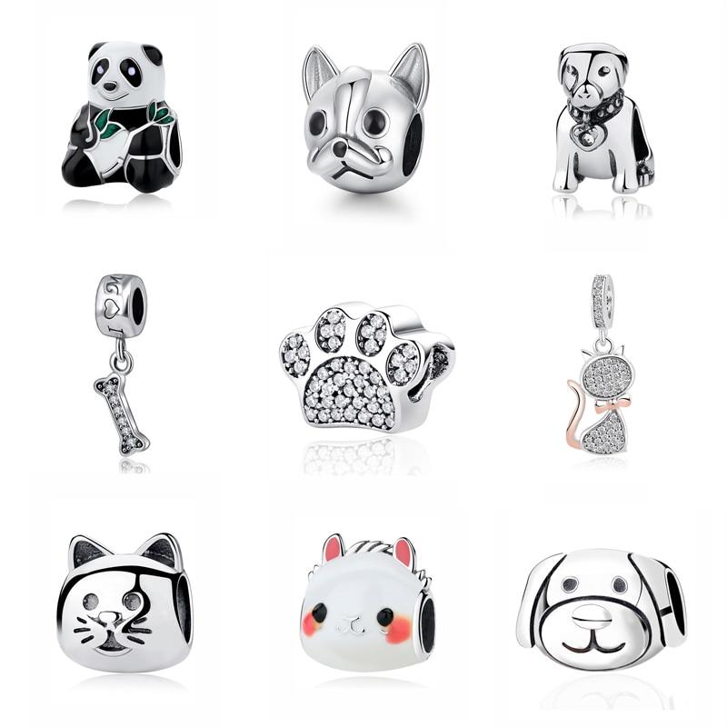 Original 925 Sterling Silver Charm Bead Love Pets Dog Cat Paw Print Panda Pendant Charms Fit Pandora Bracelets Women DIY Jewelry(China)