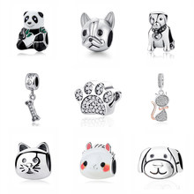 Original 925 Sterling Silver Charm Bead Love Pets Dog Cat Paw Print Panda Pendant Charms Fit Pandora Bracelets Women DIY Jewelry(China)