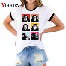 Women T Shirts 3D Print Colorful Cartoon Monkey Graphic Tees Fashion Animal Tee Casual Unisex Summer White Short Sleeve Tops monkey print tee