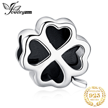 лучшая цена JewelryPalace 925 Sterling Silver Four Leaf Clover Beads Charms Silver 925 Original For Bracelet Silver 925 original Jewelry