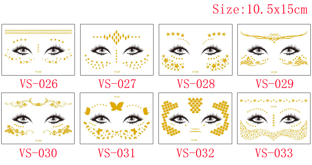 Gold Temporary Female Face Metal Tattoo Sticker Buterfly Moon Scale Chain Jewelry Flash Tattoo Body Electronic Syllable Festival (2)