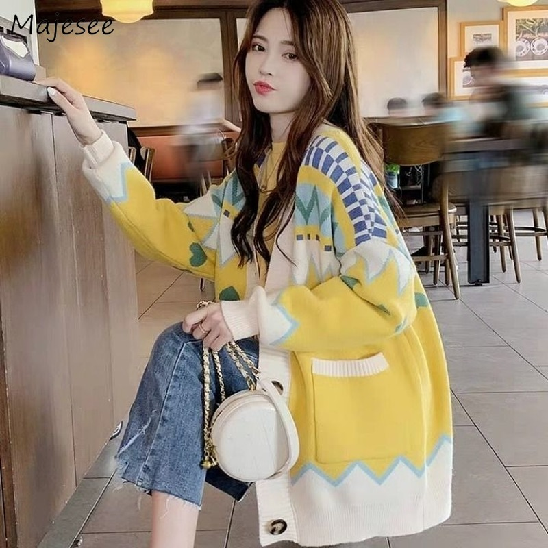 Sweaters Women Casual V-Neck Plus Size Knitted Cardigans Harajuku Single Breasted Womens Fashionable High Elasticity All Match