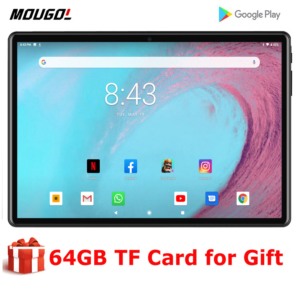 Global Language Version Tempered 2.5D 10 Inch Tablet PC 3G Android 9.0 Quad Core 32GB ROM WiFi GPS 10.1 IPS Gifts+64GB TF Card