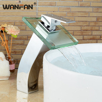 Modern Square Glass Waterfall Basin Faucet Bathroom Chromed Brass Sink Faucets Deck Mounted Single Handle Mixer Tap WF-S79-312