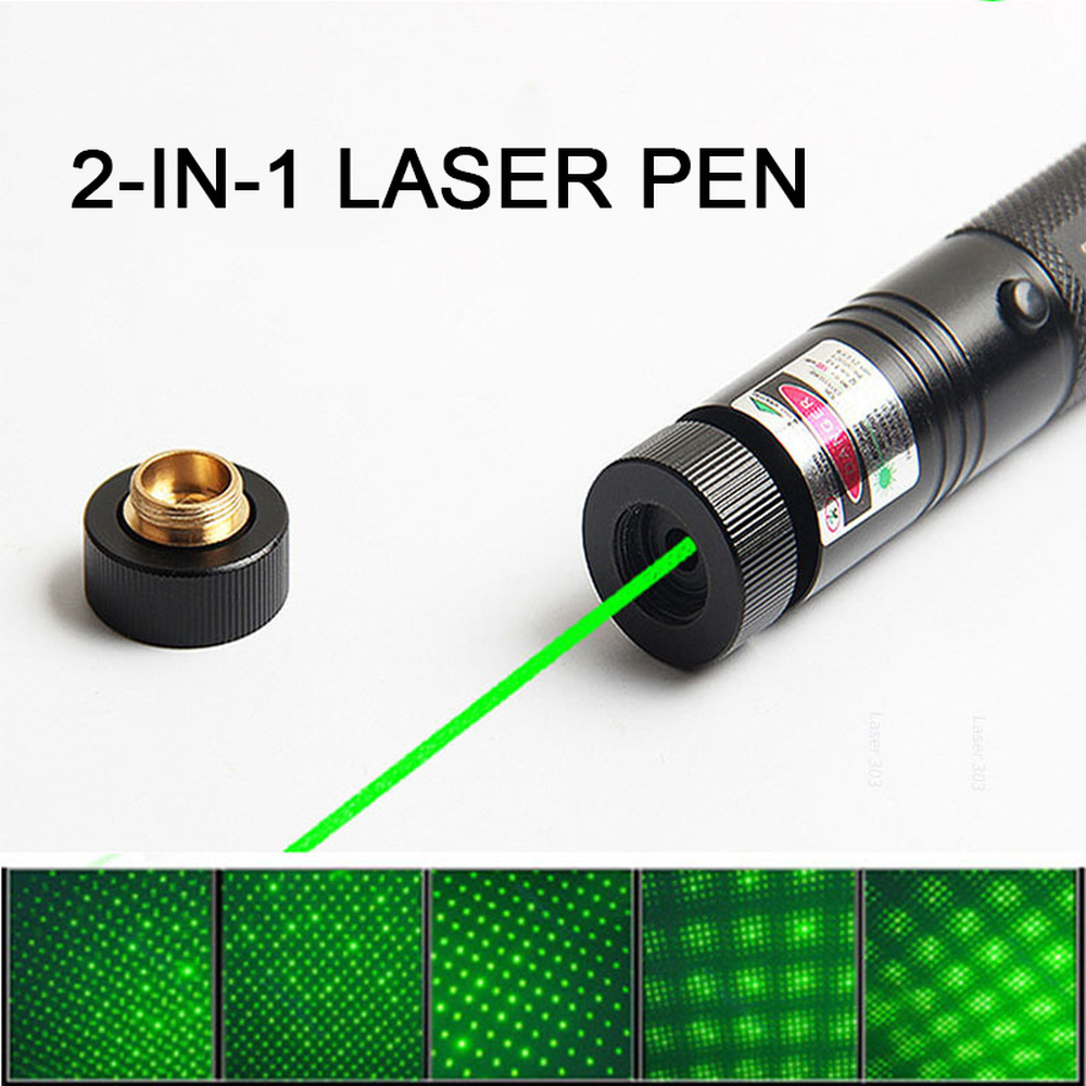 10000m 532nm Green Laser Sight High Powerful Adjustable Focus Lazer with Laser 303 Pointer+Charger+18650 Battery Eight Patterns