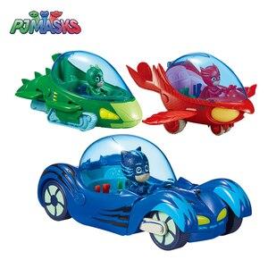 Оригинальная коробка PJ Masks Acousto-optic, Набор игрушечных машин, ночной супергерой, Catboy, olette Gekko, аниме, фигурка, модель, игрушка, детский подарок