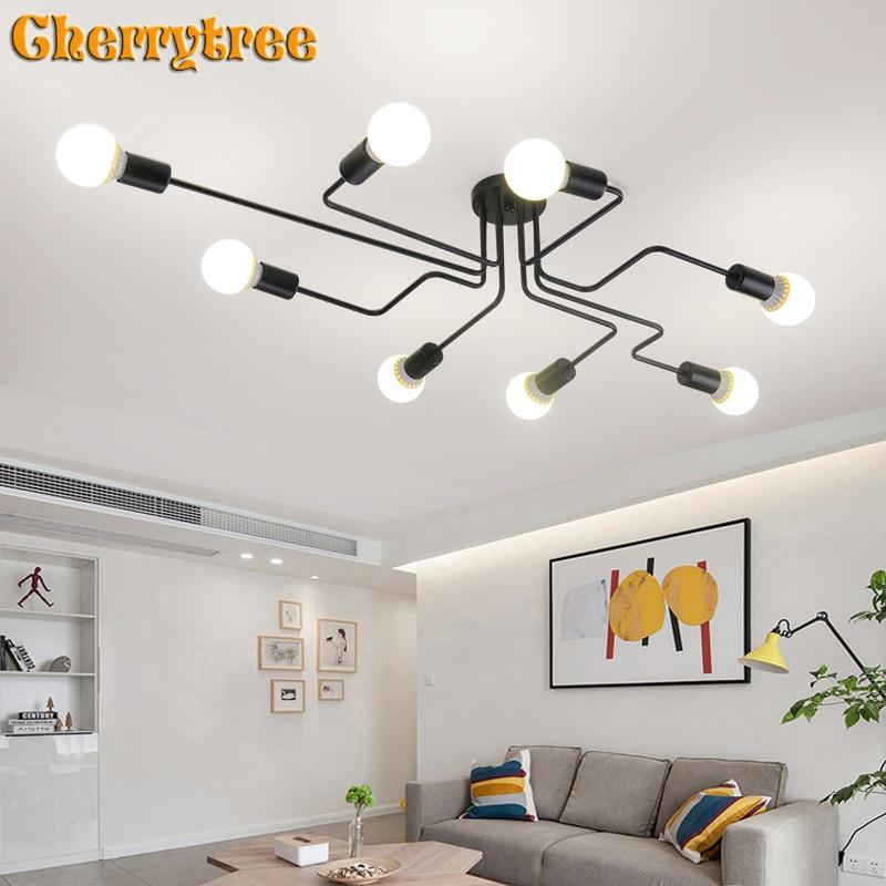 Luminaires plafond Vintage en fer, plafond Vintage pour salon lampes industrielles de plafond nordiques pour la maison
