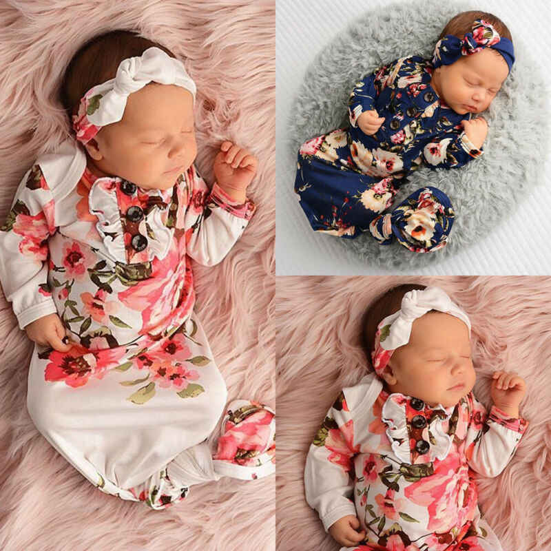 2Pcs Newborn Baby Sleeping Bags Long Sleeve Floral Little Baby Girls Swaddling Wrap Blanket+Headbands Set Sleeping Bag Swaddle