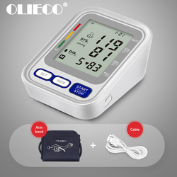 OLIECO Upper Arm Blood Pressure Monitor Electric Automatic Tonometer Heart Pulse Rate Monitor English Voice USB Plug AAA Battery
