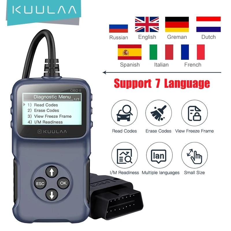 KUULAA OBD2 Car Diagnostic Tool V309 Read Code Card Reads Car Fault Code Erase Fault Code Checks Vehicle Information Car Scanner