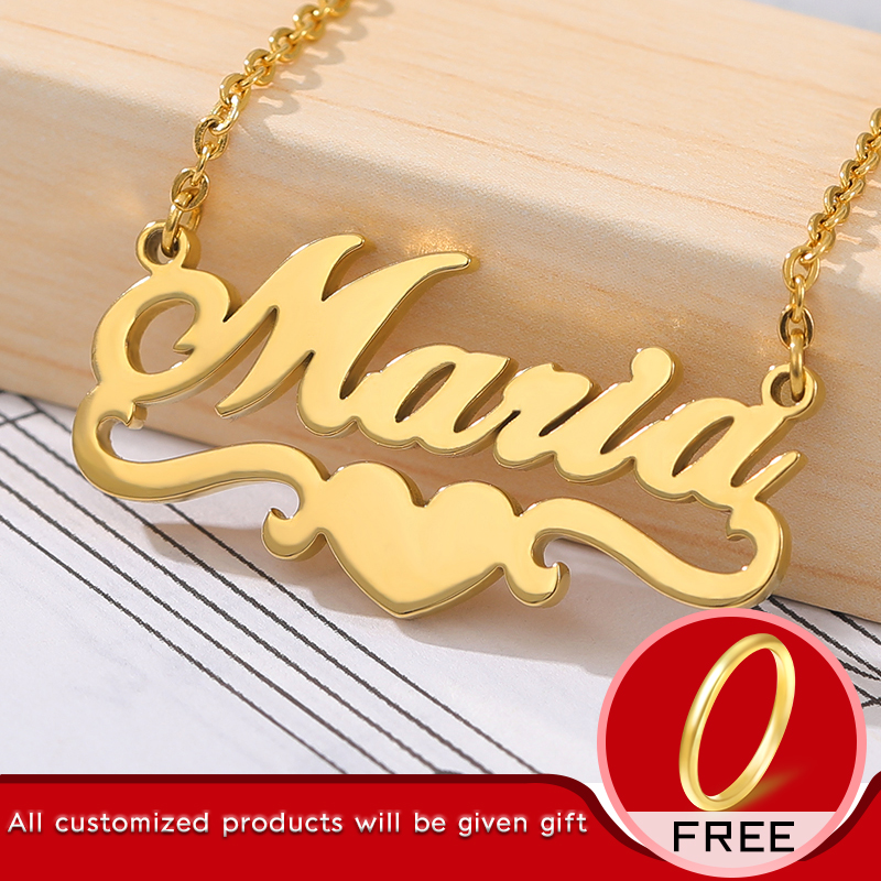 Custom Name Necklace For Women Personalized Gold Heart Ribbon Nameplate Necklace Stianless Steel Chain Choker BFF Jewerly Gift