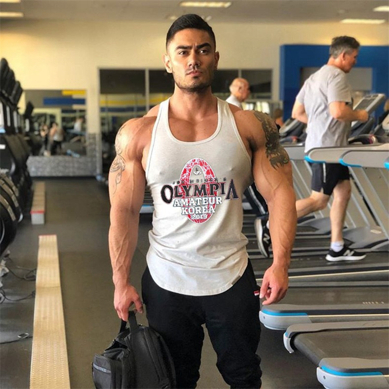 Gyms Tank Tops Men's Sleeveless Tank Tops New Boys Bodybuilding Clothing Undershirt Men Stripe Cotton Fitness Vest Male Tanks