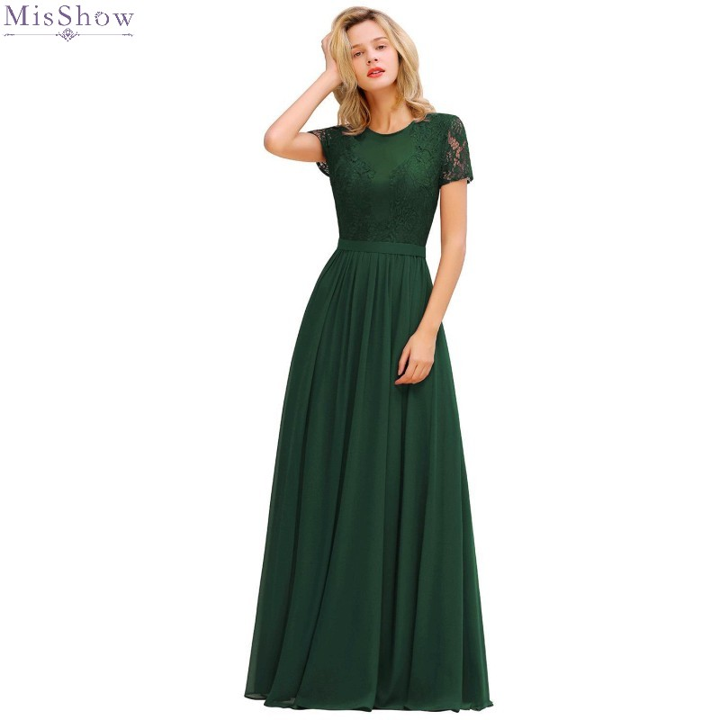 Misshow Prom Dresses 2019 Deep Green Chiffon Long Formal Party Gown Sexy Lace Applique Sleeved Vestidos De Gala
