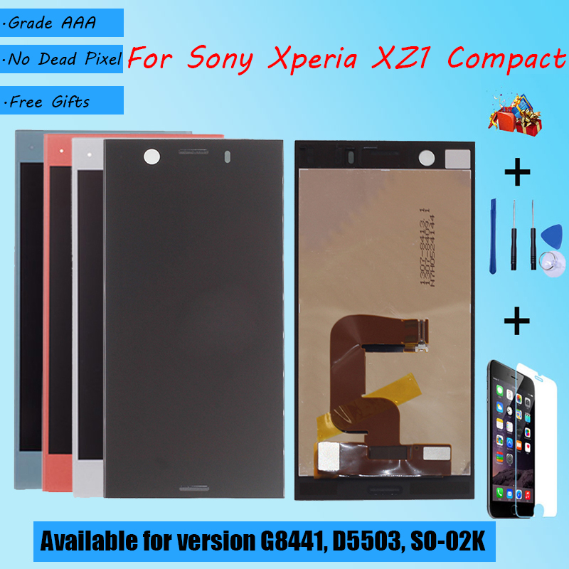 For Sony Xperia XZ1 Compact G8441 D5503 SO-02K LCD screen assembly touch glass,With repair parts LCD Display Black Blue Silver(China)