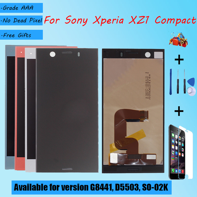 For Sony Xperia XZ1 Compact G8441 D5503 SO 02K LCD screen assembly touch glass,With repair parts LCD Display Black Blue Silver