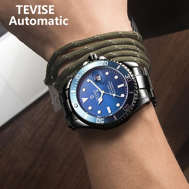 TEVISE T801 التلقائي ساعة ميكانيكية الرجال 2020 مقاوم للماء ساعات رجالي العلامة التجارية الفاخرة الأزرق ساعة اليد Relogio Masculino 2019