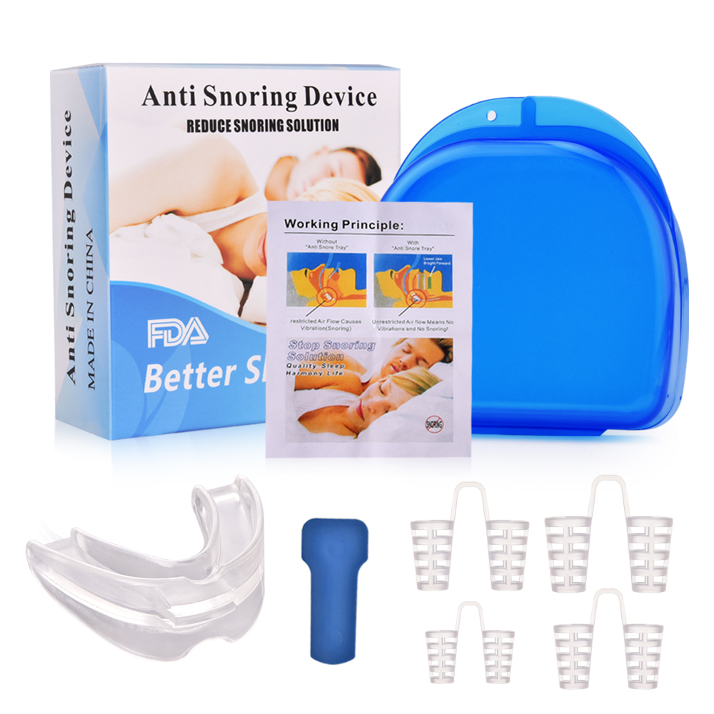 4pcs Anti Snoring Solution Kit Nasal Dilators Mouth Guard Mouthpiece Stop Snoring Device Sleep Care Tool For Men Women Toiletry