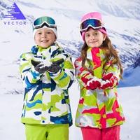 VECTOR Children Skiing Outdoor Waterproof Snowboarding Jackets Pants Set Ski Suit Outfit Winter Warm Kids Clothing Boys Girls