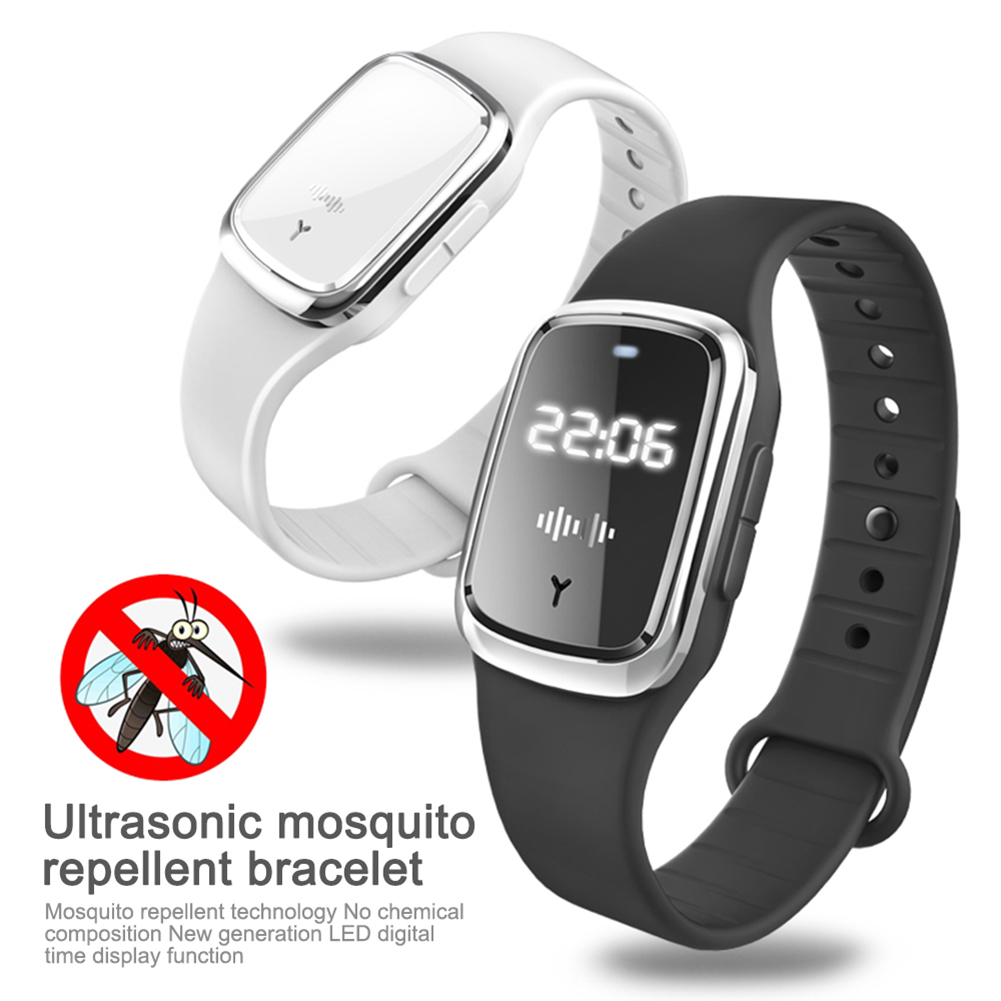 Rechargeable LED Smart Electronic Mosquito Repellent Watch Wristband Ultrasonic Mosquito Repellent Bracelet With Clock Function