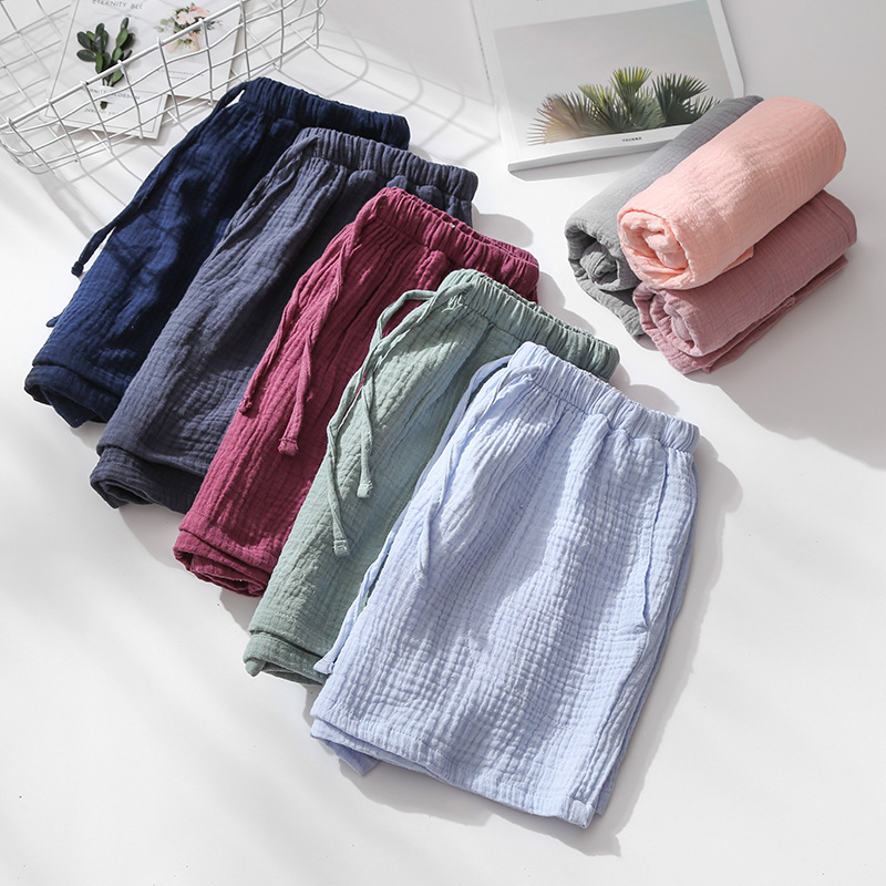 Summer Couple Sleep Pants Cotton Crepe Nightwear for Men and Women Pajama Shorts Elastic Waist Sleep Bottoms Sleeping Shorts