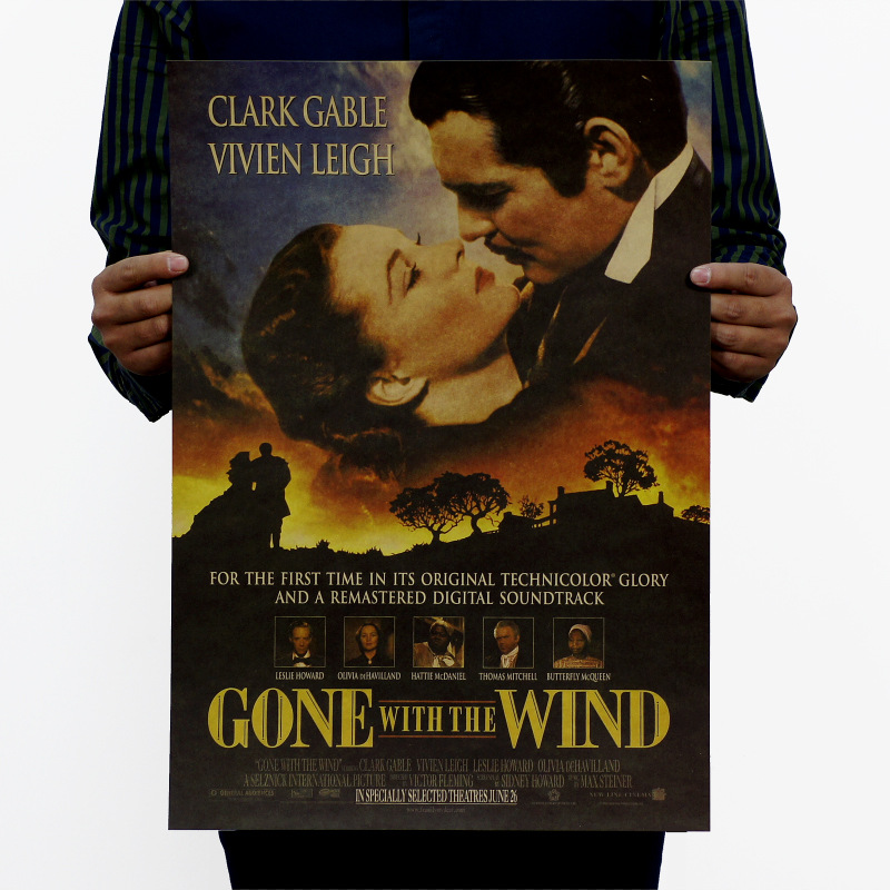 Gone With The Wind Vintage Kraft Paper Classic Movie Poster Map School Office Decoration Wall Art Classic Retro Prints