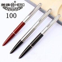 Haute qualité luxe HERO 100 stylo plume coffret cadeau classique calligraphie 14K or encre stylo école bureau écriture fournitures