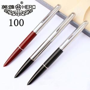 Image 1 - Haute qualité luxe HERO 100 stylo plume coffret cadeau classique calligraphie 14K or encre stylo école bureau écriture fournitures