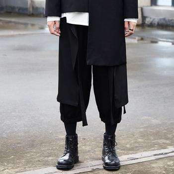Męskie luźne dziewięciopunktowe spodnie Streetwear spodnie dresowe dla joggerów Hip-Hop Casual męskie luźne spodnie czarne spodnie na co dzień tanie i dobre opinie DULUOSA Szerokie spodnie nogi CN (pochodzenie) Mieszkanie COTTON NONE Pełnej długości Midweight Suknem Kostki długości spodnie
