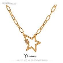 Yhpup wykwintne wisiorek w kształcie gwiazdy ze stali nierdzewnej naszyjnik biżuteria wysokiej jakości cyrkonia 18 K łańcuch obroża naszyjnik dla kobiet
