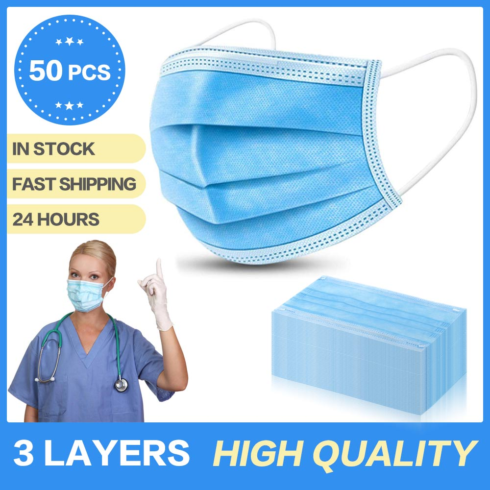 10/20/50PCS Anti-Pollution 3 Laye Mask Dust Protection Masks Disposable Face Masks Elastic Ear Loop Disposable Dust Filter