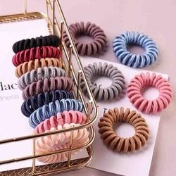 9 pièces couleur aléatoire gomme téléphone fil élastique bandes de cheveux cravates anneaux en caoutchouc élastique pour queue de cheval Bracelets bandeaux cheveux accessoires