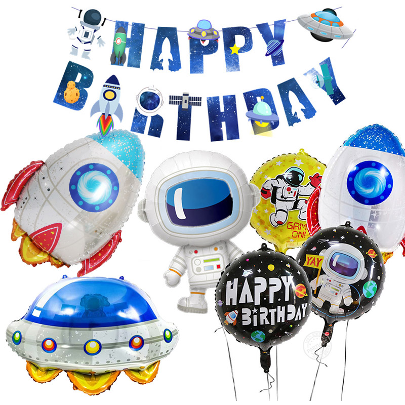 Astronaut Outer Space Party Astronaut Rocket Ship Balloons Foil Galaxy System Theme Party Boy Kids Birthday Party Decorations