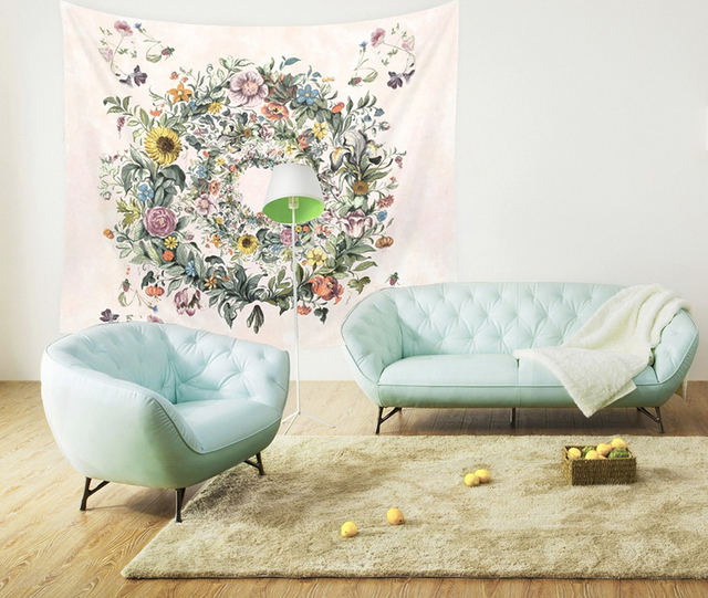 Floral Patterned Wall Tapestry 3