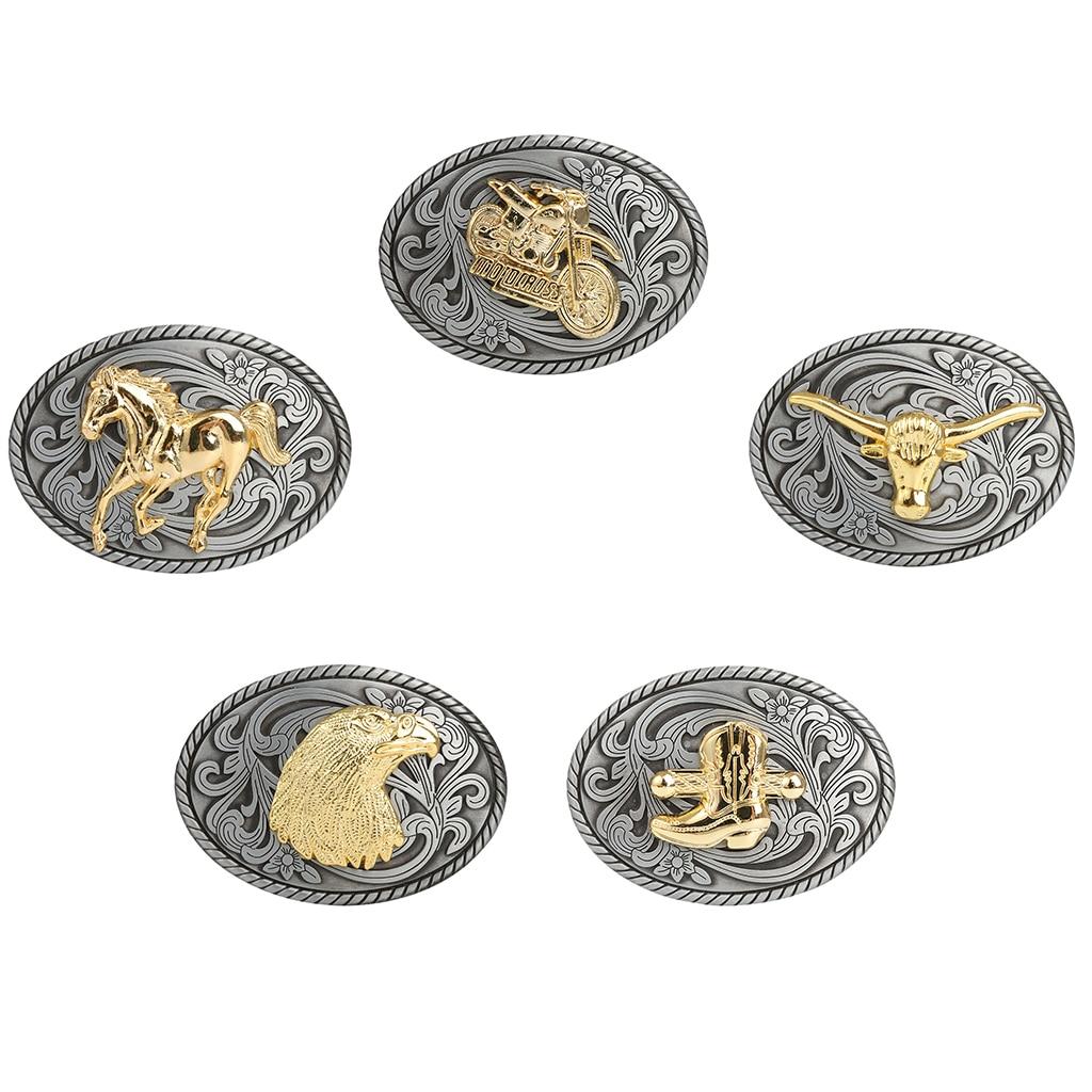 Belt Buckle Metal Men's Cool Embossed Skull Gold Animals Design Western Cowboy Horse Belt Buckle Accessory