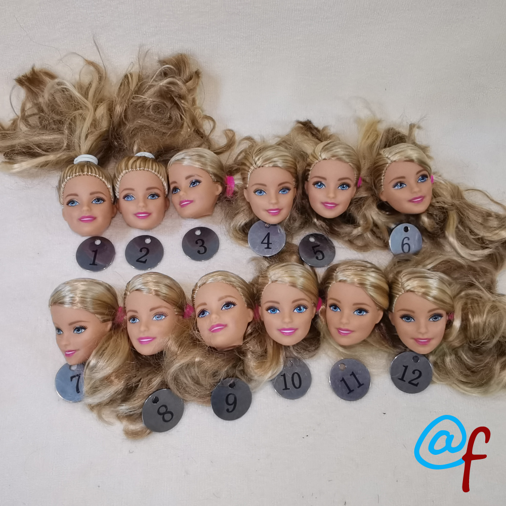 B20-14 Original Foreign Trade European Beauty1/6 OOAK NUDE Doll Head Mussed Long Hair For DIY Soft PVC Head  90%NEW