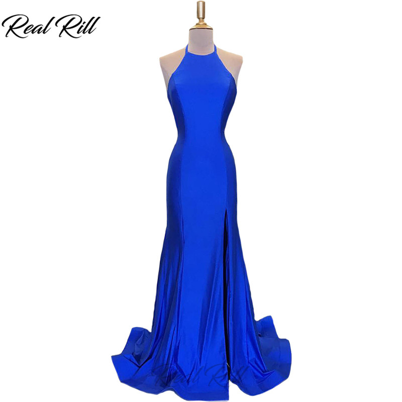 Real Rill Halter   Evening     Dress   2019 Backless Satin Sweep Train A-Line Floor Length   Evening   Gown Long   Dress   For Party
