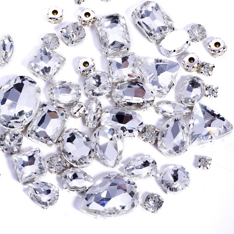 Sell At A Loss ! High Quality Mixed Shapes White Sew On Rhinestones Flatback Glass Sew On Claw Rhinestones For Garment Y3486