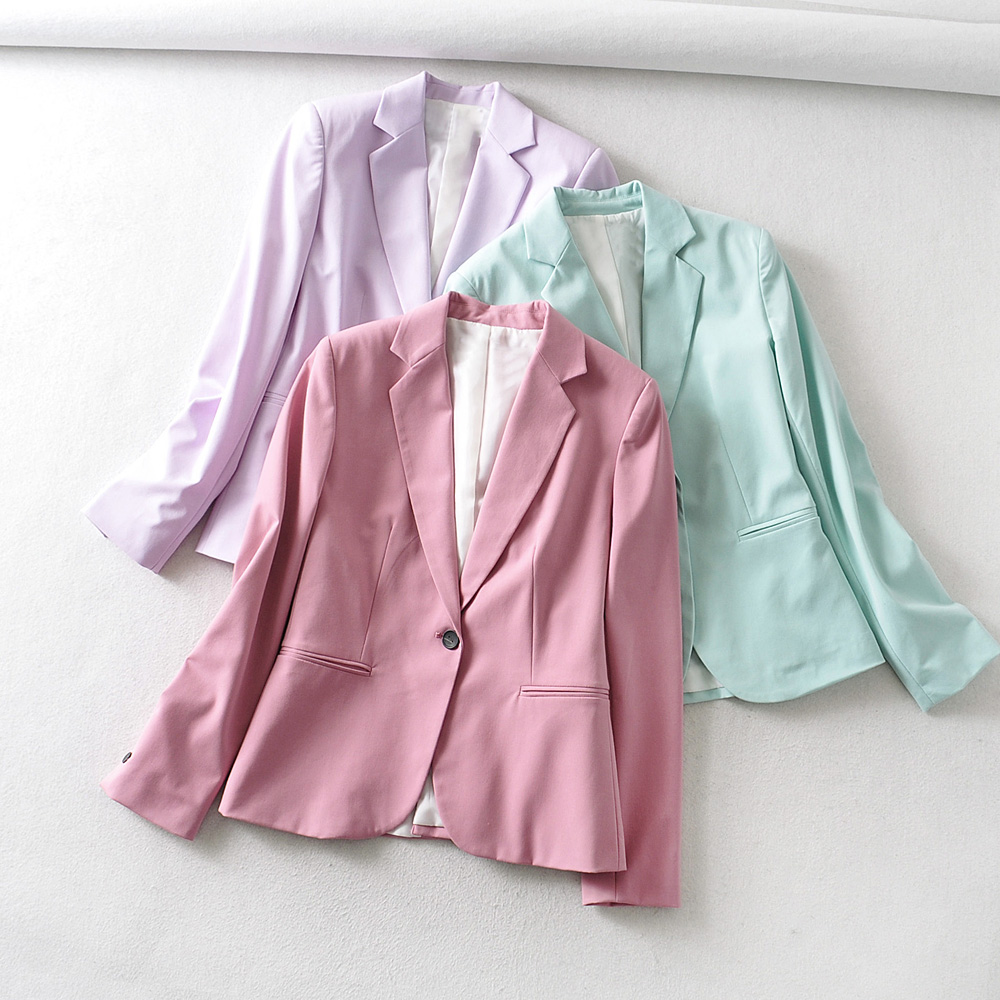 2020 Women Candy Color Single Button Blazer Notched Collar Long Sleeve Female Suits Causal Stylish Business Outwear Coats CT395